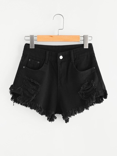 Ripped Frayed Hem Denim Shorts