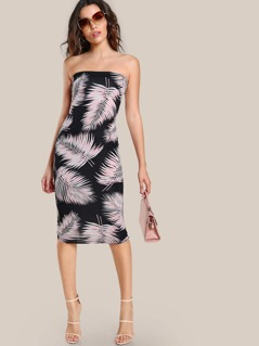 Palm Leaf Bodycon Dress BLACK BLUSH