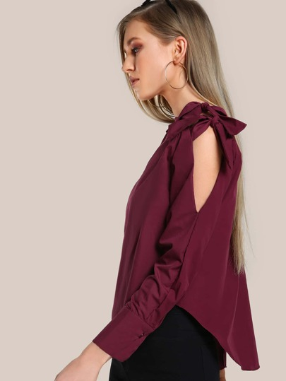 Sleeved Off Shoulder Tie Top WINE