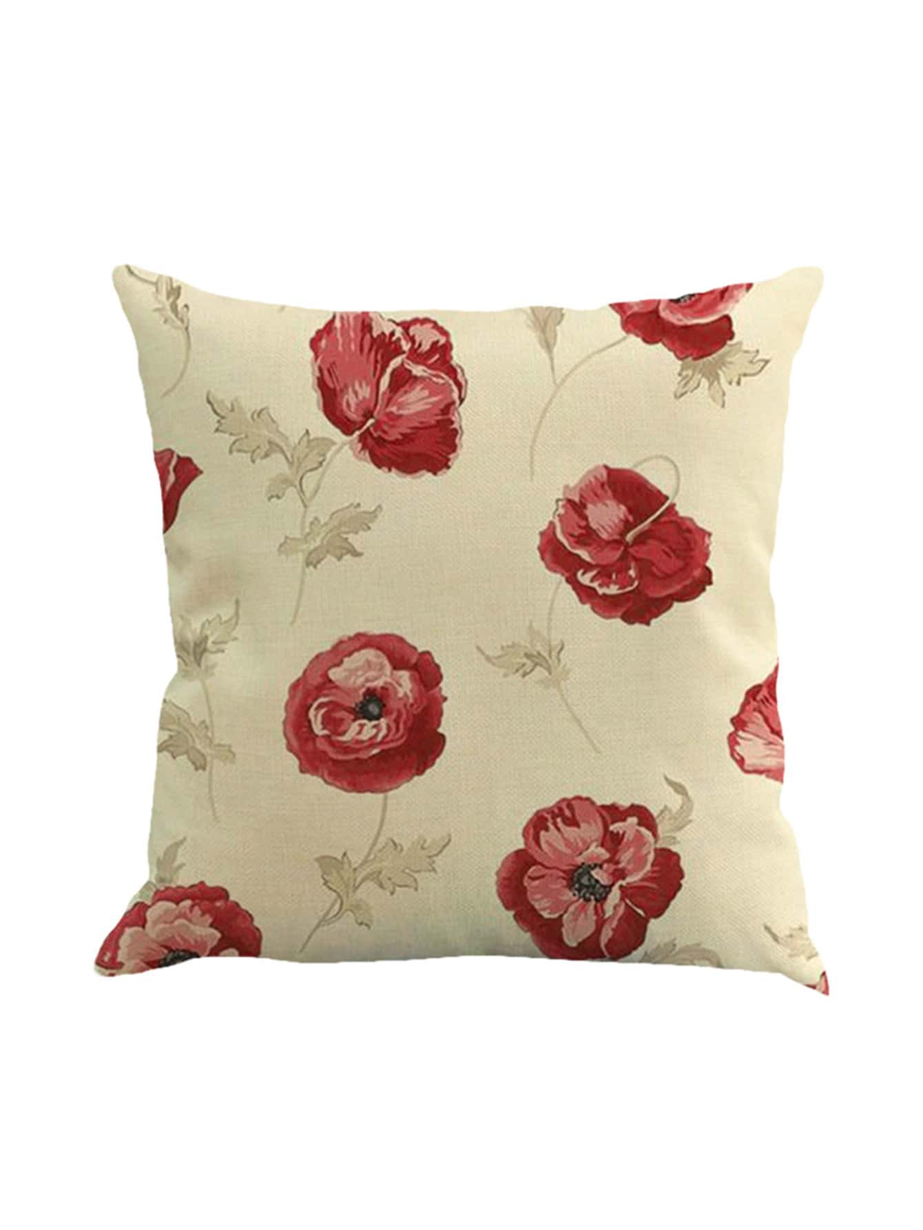 Contrast Flower Print Pillowcase Cover