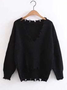 Distressed Drop Shoulder High Low Sweater
