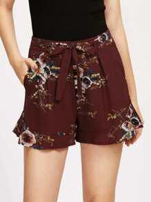 Tie Waist Frill Hem Botanical Print Shorts