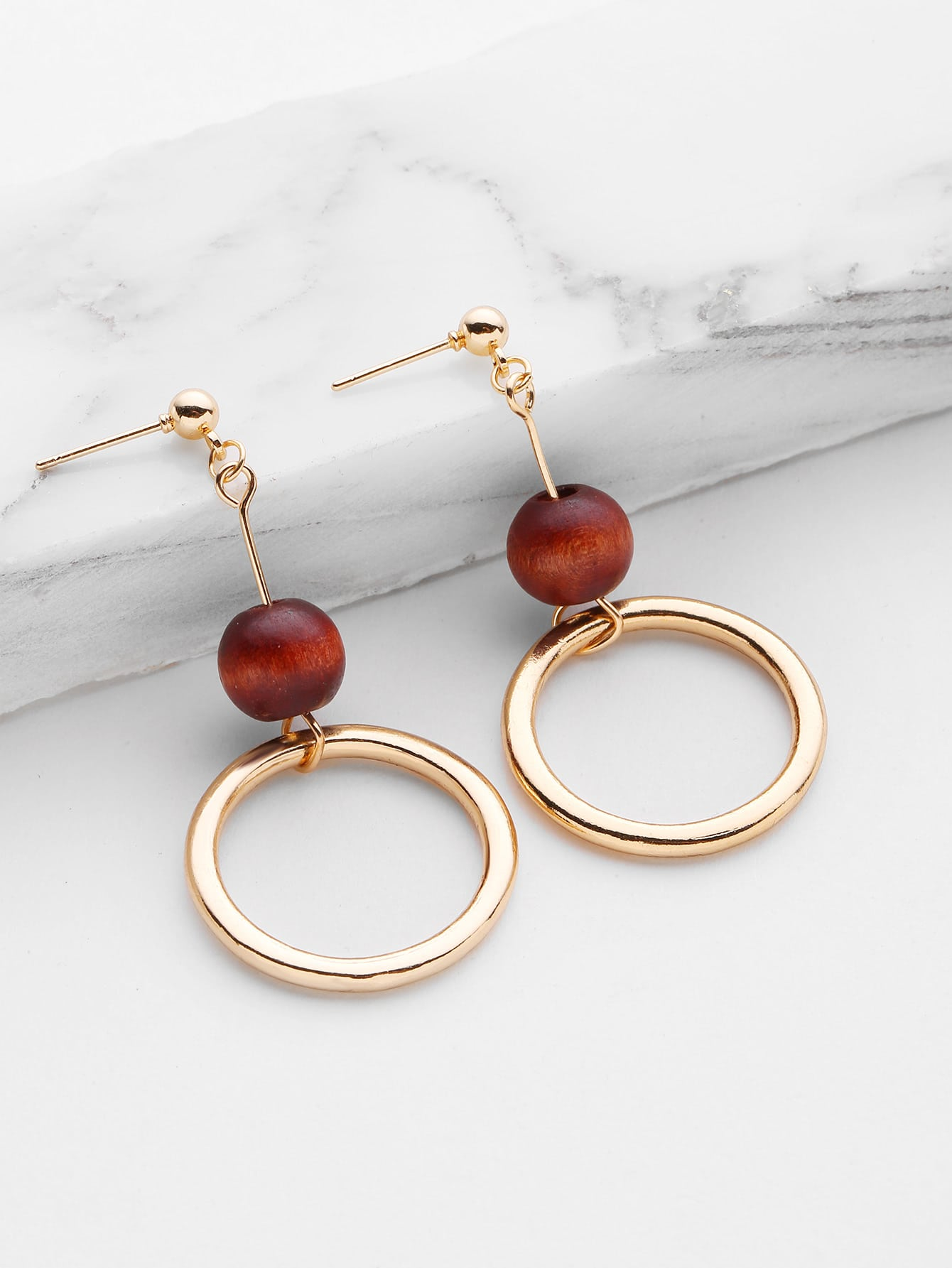 Фото Ring Design Drop Earrings With Wood Ball. Купить с доставкой