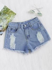Shorts lacéré en denim
