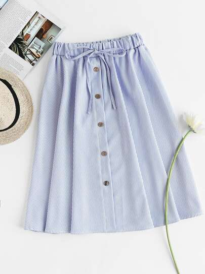 Pinstriped Button Front Drawstring Waist Skirt