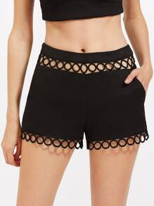Circle Lace Insert Tailored Shorts
