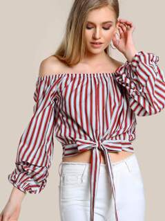 Off Shoulder Long Sleeve Top WINE WHITE