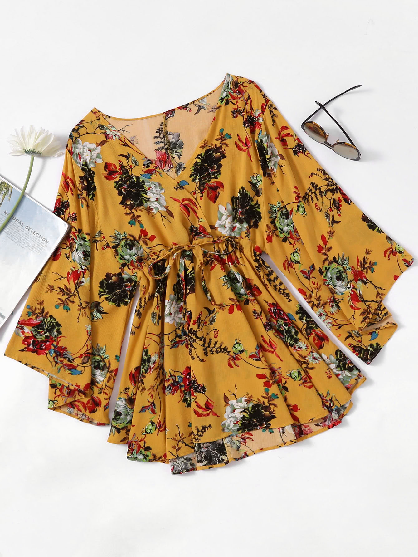 Floral Print Random Surplice Drawstring Waist Dress