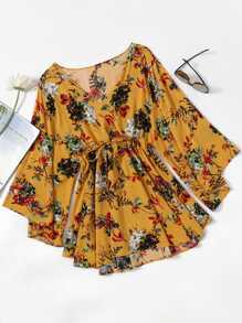 Floral Print Random Surplice Drawstring Waist Dress
