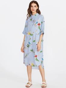 Botanical Print Striped Slit Side Curved Hem Shirt Dress