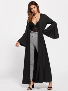 Self Tie Exaggerated Bell Sleeve Abaya