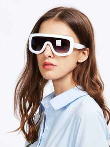Contrast Trim Visor Sunglasses