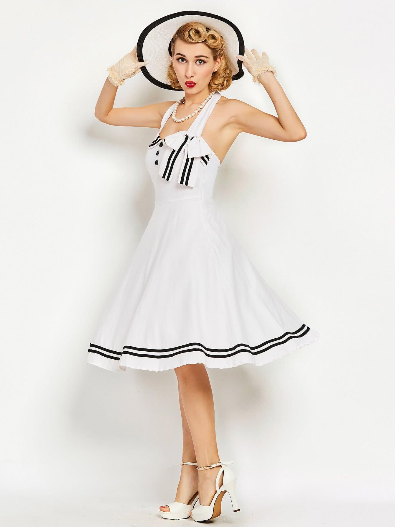Фото Contrast Striped Trim Halter Circle Dress. Купить с доставкой