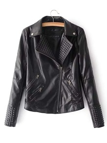 PU Moto Jacket With Rivet Detail