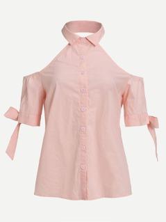 Collared Halter Tie Sleeve Blouse