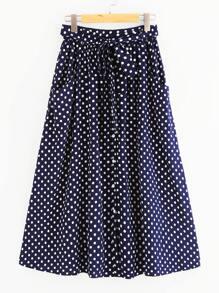 Button Up Polka Dot Belt Skirt