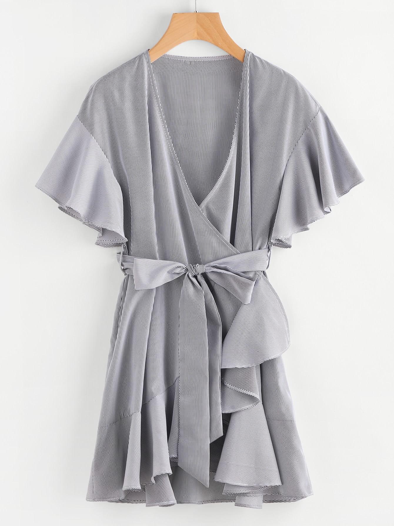 Фото Frill Detail Surplice Wrap Striped Dress. Купить с доставкой
