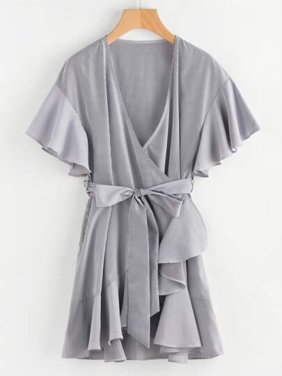 Frill Detail Surplice Wrap Striped Dress