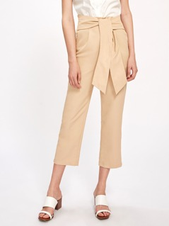 Sash Tie Pleated Front Crop Pants