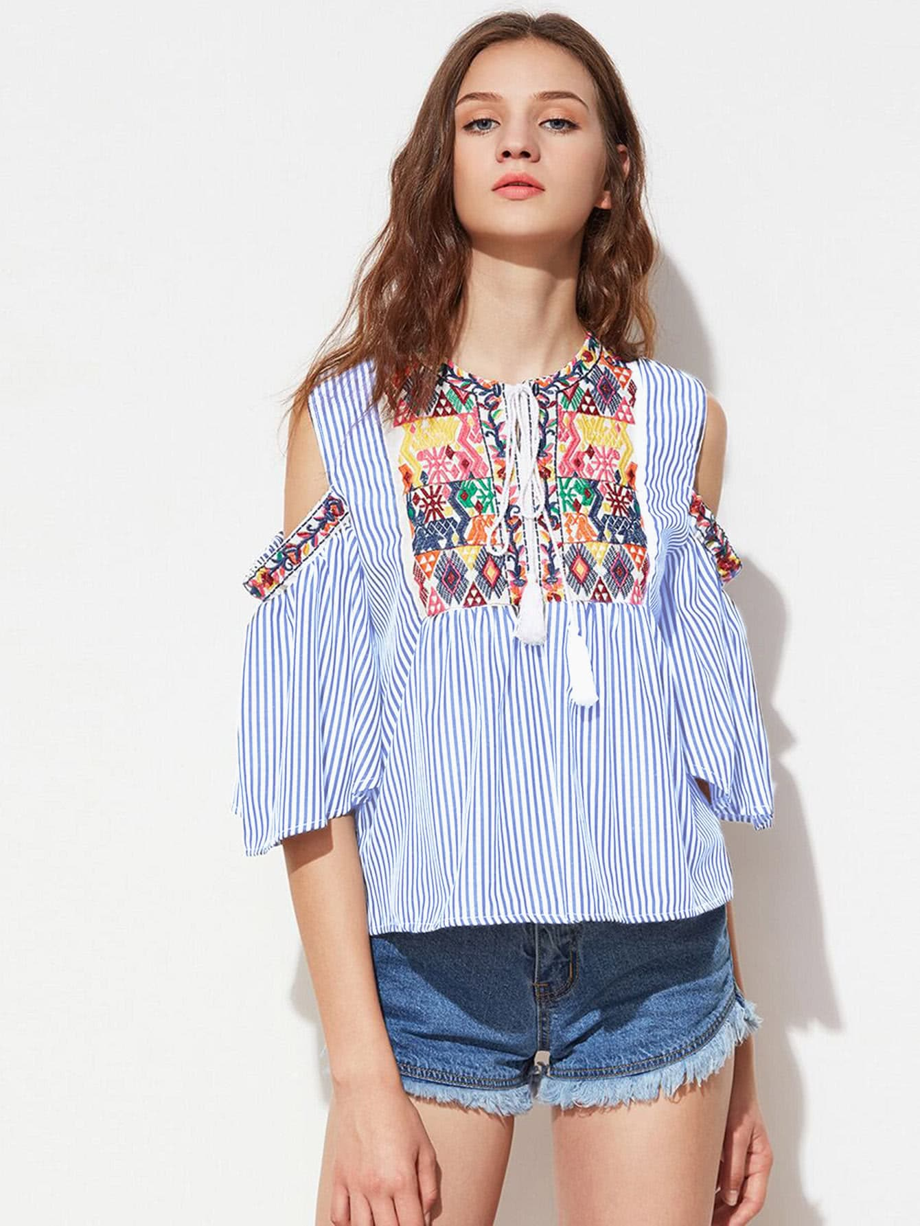Фото Aztec Embroidery Tassel Tie Open Shoulder Vertical Striped Blouse. Купить с доставкой