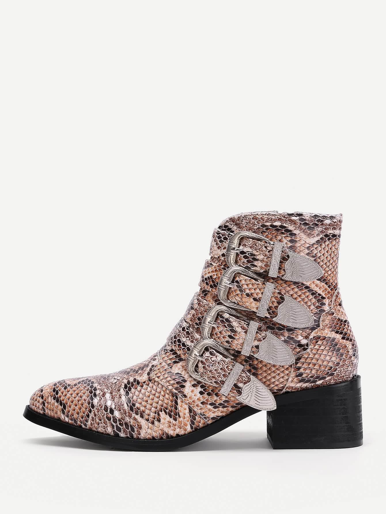 все цены на Buckle Decorated Snakeskin Print PU Ankle Boots
