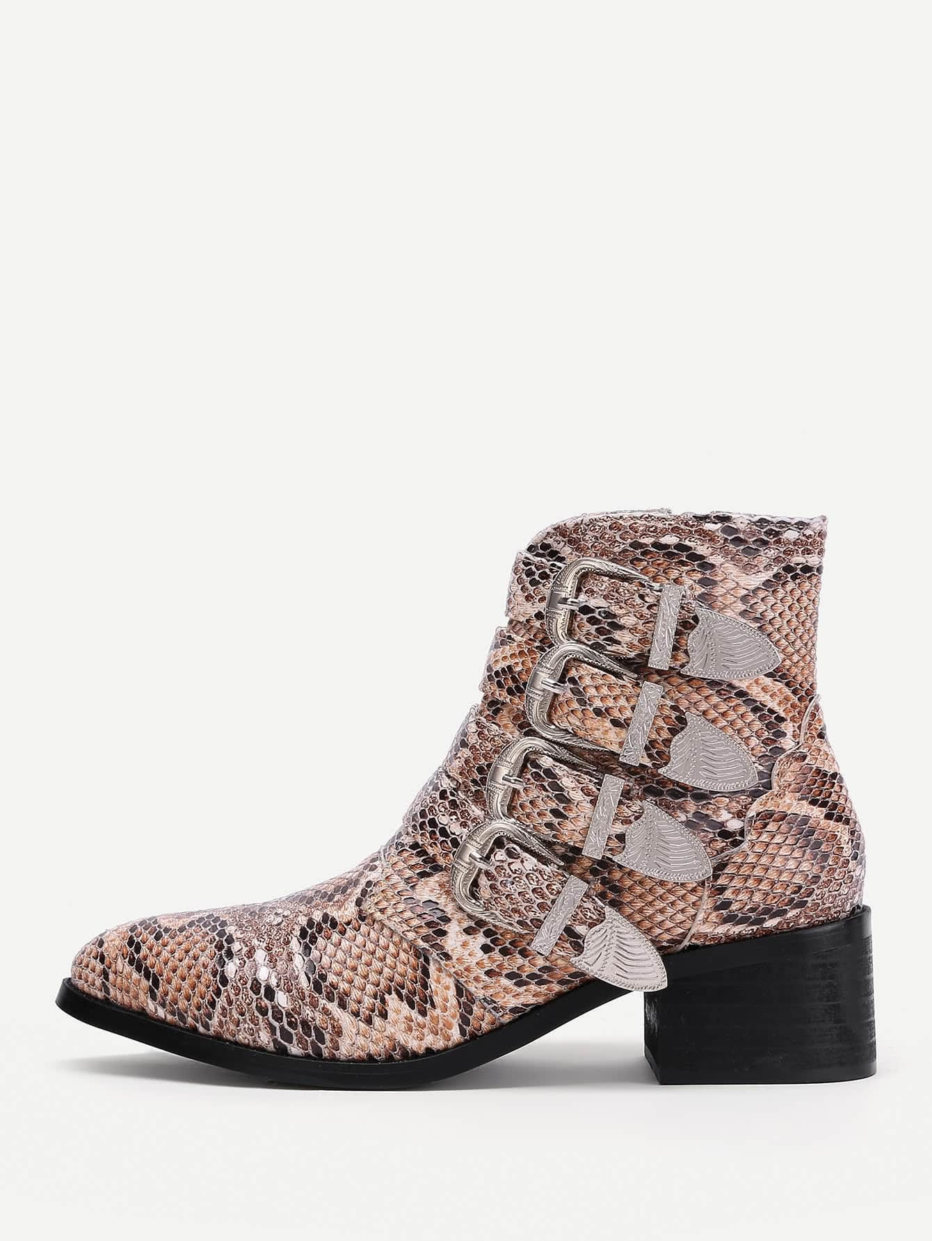 Buckle Decorated Snakeskin Print PU Ankle Boots