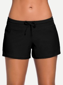 Side Slit Drawstring Swim Shorts