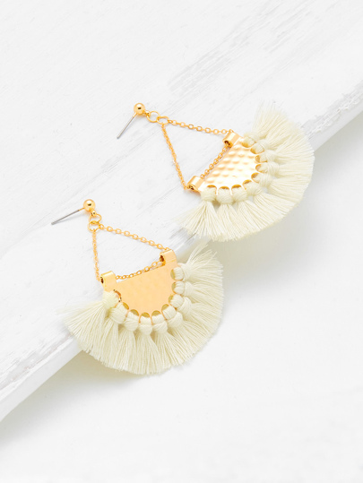Fan Shaped Tassel Earrings