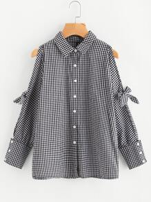 Knotted Split Dolman Sleeve Gingham Shirt