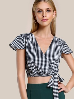 Elasticized Hem Self Tie Surplice Wrap Top