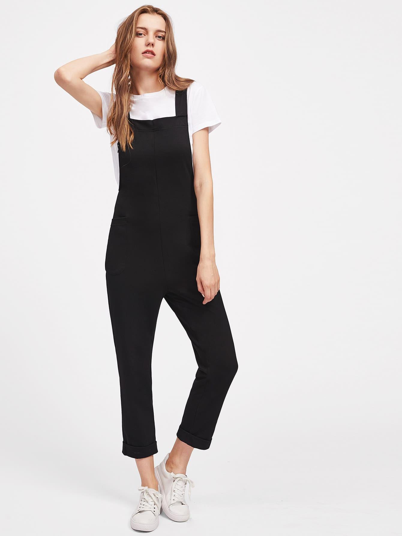 Фото Rolled Hem Pockets Side Overall Pants. Купить с доставкой