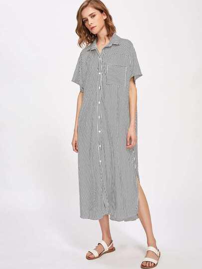 Contrast Vertical Striped Split Side Dress