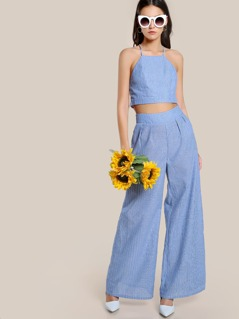 Pinstripe Racer Front Cami And Palazzo Pants Co-Ord