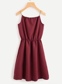Braided Bead Strap Tie Neck Cami Dress