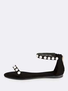 Pearl Accent Ankle Band Sandals BLACK