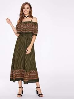 Mixed Print Flounce Cold Shoulder Dress