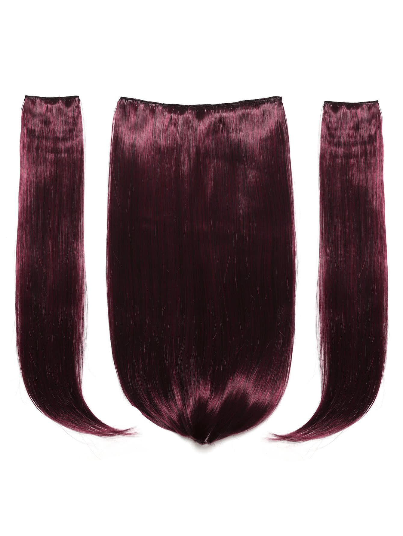 Image of Black & Burgundy Clip In Hair Extension 3pcs