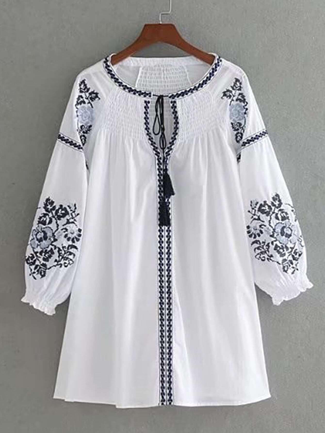 Flower Embroidery Tassel Tie Dress