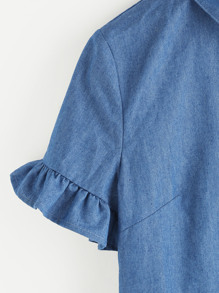 Frill Detail Chambray Blouse pictures
