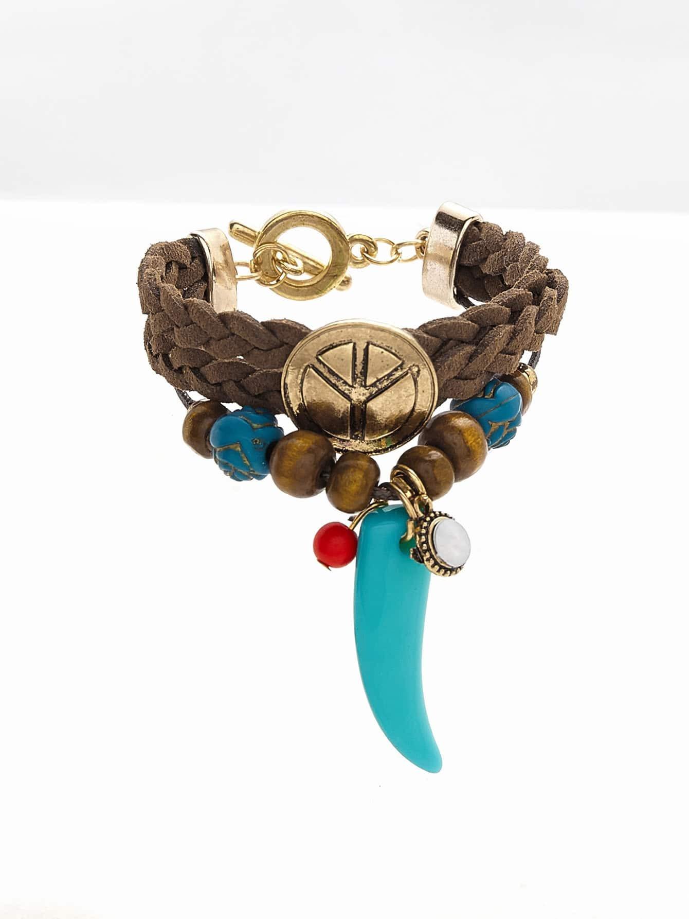 Фото Horn Detail Woven Layered Bracelet. Купить с доставкой