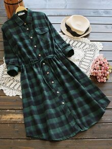 Checked Drawstring Waist Shirt Dress