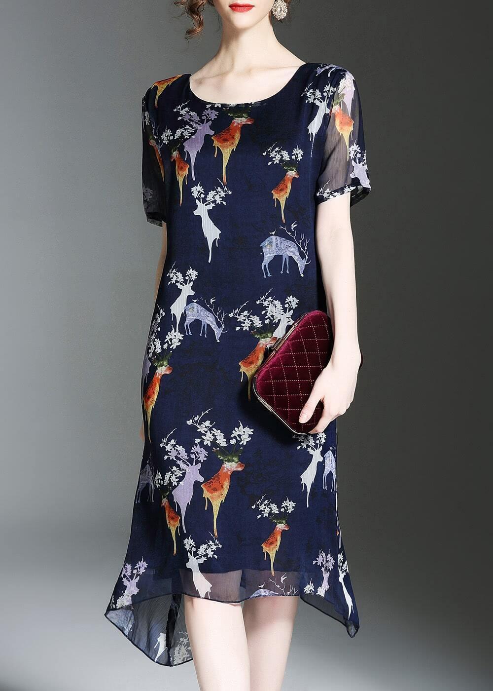 Фото Deer Print Asymmetric Dress. Купить с доставкой