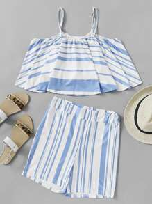 Contrast Striped Cami Top And Shorts Set