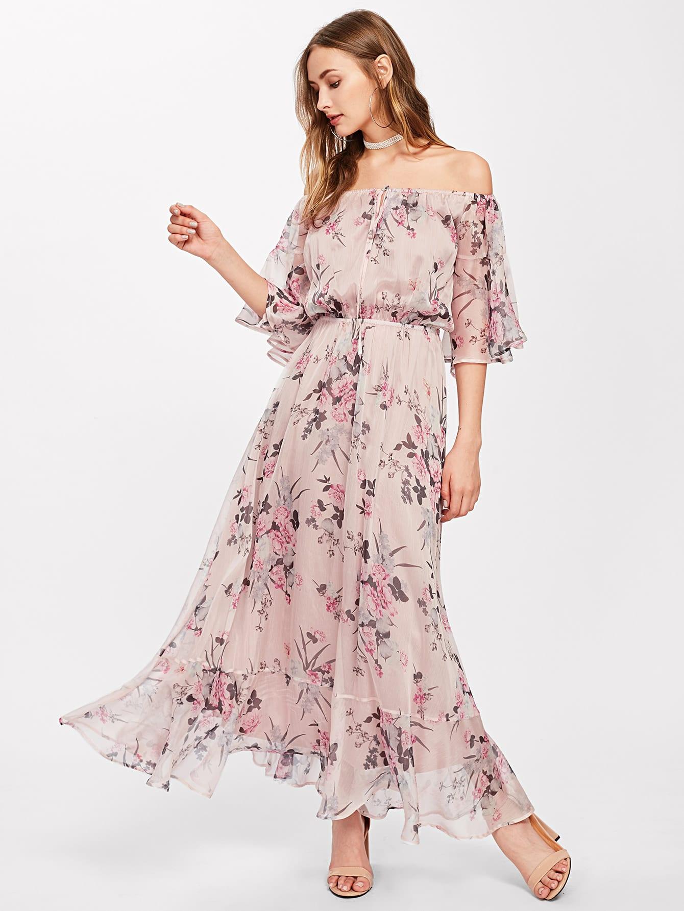 Tie Front Trumpet Sleeve Botanical Bardot Dress pompom trim trumpet sleeve shirred bardot romper