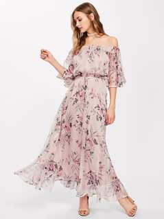Tie Front Trumpet Sleeve Botanical Bardot Dress