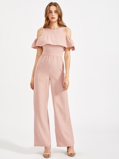 Open Shoulder Flounce Trim Tailored Palazzo Jumpsuit