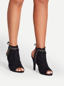 Raw Trim Detail Eyelet Front Heels