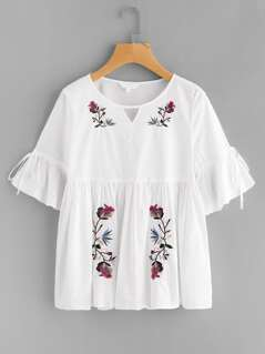 Cutout Neck Trumpet Sleeve Embroidered Smock Top