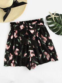 Shorts mit Schleife um die Taille und Blumenmuster
