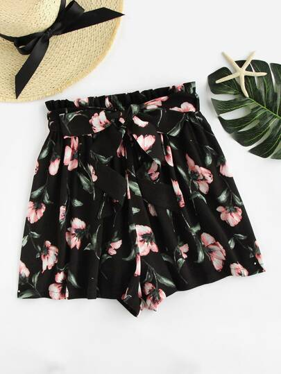 Bow Tie Waist Flower Print Shorts